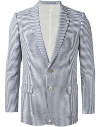 Julien David | Blue Striped Blazer for Men | Lyst