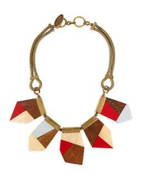 Lela Rose - Metallic Colorblock Wooden Necklace - Lyst
