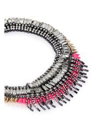 Venna - Pink Crystal Fringe Spike Necklace - Lyst