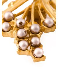 Dolce & Gabbana | Metallic Faux Pearl Embellished Clip-on Earrings | Lyst