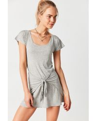 Silence + Noise - Gray Tie-waist T-shirt Dress - Lyst