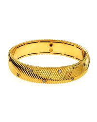 Roberto Coin | Metallic 18k Ribbed Diamond Dot Bangle Bracelet | Lyst