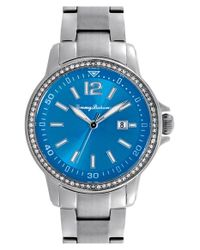 Tommy Bahama | Blue 'island Breeze' Crystal Bezel Bracelet Watch | Lyst