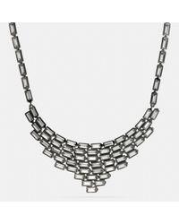 COACH - Black Hangtag Baguette Bib Necklace - Lyst