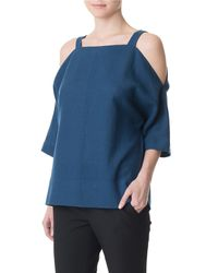 Tibi | Blue Aurora Drape Cut Out Top | Lyst