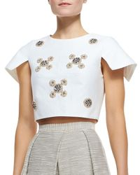 Tibi | White Cropped Bead Cluster Top | Lyst