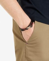 Ted Baker - Black Woven Leather Bracelet for Men - Lyst