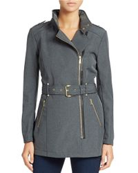 MICHAEL Michael Kors | Gray Mockneck Collar Fitted Coat | Lyst