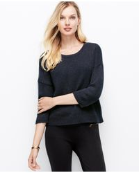 Ann Taylor - Blue Cozy Cropped Pullover - Lyst