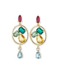 Oscar de la Renta | Multicolor Crystal-embellished Clip-on Earrings | Lyst