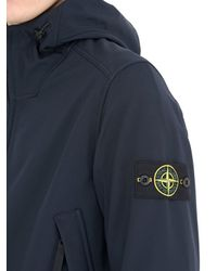 Stone Island | Blue Hooded Zipped Softshell Jersey Jacket for Men | Lyst