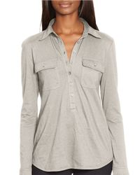Lauren by Ralph Lauren | Gray Buttoned-placket Cotton Top | Lyst
