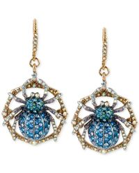 Betsey Johnson | Metallic Gold-tone Crystal Pavé Spider Drop Earrings | Lyst