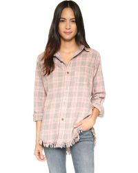 Current/Elliott | The Prep School Shirt With Fray - Pink Tinsel Plaid | Lyst