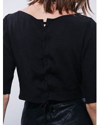 Free People - Black Womens Crop Lace Back Top - Lyst