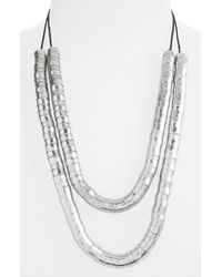 TOPSHOP - Metallic Layered Tube Necklace - Lyst
