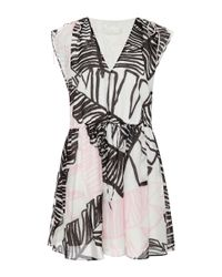 Thakoon Addition - Pink Floral Print Shawl Collar Dress - Lyst