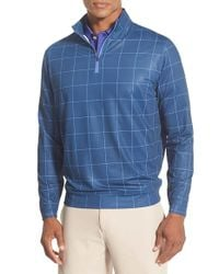 Peter Millar | Blue 'perth' Windowpane Quarter Zip Pullover for Men | Lyst