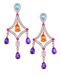 Effy | Multicolor Mosaic Semi-precious, Multi-stone, Diamond And 14k Rose Gold Chandelier Drop Earrings | Lyst