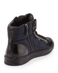 Prada - Blue Nylon/Leather High-Top Sneaker for Men - Lyst