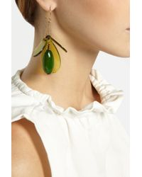 Marni - Green Gold-Plated, Horn And Acetate Drop Earrings - Lyst