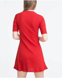 Zara | Red Ribbed Dress | Lyst
