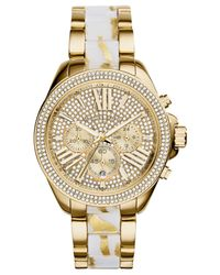 Michael Kors - Women'S Chronograph Wren White Zebra And Gold-Tone Stainless Steel Bracelet Watch 42Mm Mk6157 - Lyst