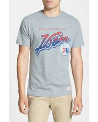 Mitchell & Ness | Gray 'Philadelphia 76Ers - Script' Tailored Fit Graphic T-Shirt for Men | Lyst