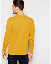 ASOS | Yellow Crew Neck Jumper In Cotton for Men | Lyst