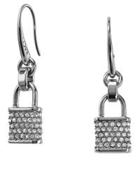 Michael Kors | Metallic Pave Padlock Drop Earrings | Lyst