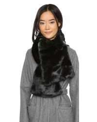 kate spade new york - Faux Fur Stole Scarf - Black/loam Green - Lyst