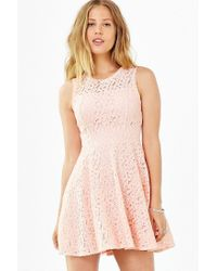 Kimchi Blue - Pink Lace Sheer Fit + Flare Dress - Lyst