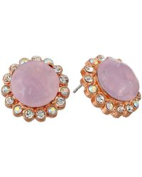 Betsey Johnson | Beaded Heart Pink Ruffled Round Stud Earrings | Lyst