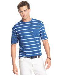 Izod - Blue Striped Pocket T-shirt for Men - Lyst