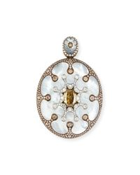 Arunashi - Mother-of-pearl Oval Pendant Necklace With Brown & White Diamonds - Lyst
