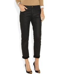Current/Elliott - Black The Fling Coated Boyfriend Jeans - Lyst