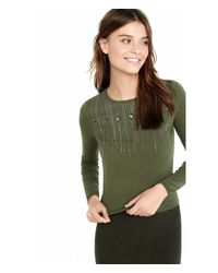 Express - Green Embellished Cropped Pullover - Lyst