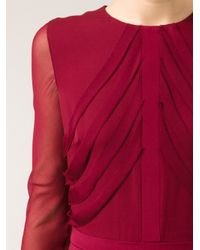 Cushnie et Ochs - Red Crepe Sheer Sleeve Dress - Lyst