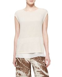 Lafayette 148 New York - Natural Cap-sleeve Multi-stitch Sweater - Lyst