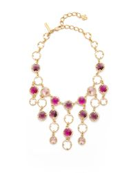 Oscar de la Renta - Purple Framed Crystal Necklace - Lyst