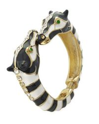 Kenneth Jay Lane | Multicolor Blackâ and White Stripes Horsehead Bracelet | Lyst