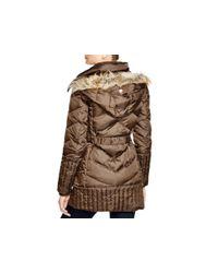 Sam Edelman - Brown Faux Fur-trim Puffer Jacket - Lyst