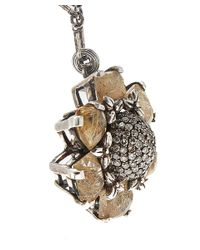 Stephen Dweck | Metallic Silver Rutilated Quartz And Diamond Necklace | Lyst