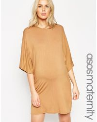 ASOS | Brown T-shirt Dress With Kimono Sleeve | Lyst