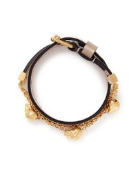 Alexander McQueen | Brown Skull Chain Double Wrap Leather Bracelet | Lyst