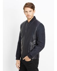 Vince - Blue Quilted Leather and Suede Jacket  for Men - Lyst