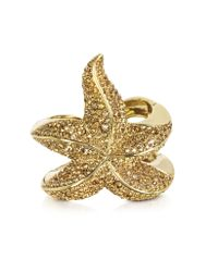 Roberto Cavalli | Metallic Sea Life Golden Brass W/Crystal Star Fish Bangle | Lyst