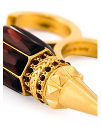 Alexander McQueen | Black Spiked Double Band Ring | Lyst