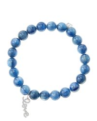Sydney Evan | Blue 8mm Kyanite Beaded Bracelet with 14k White Golddiamond Love Charm Made To Order | Lyst