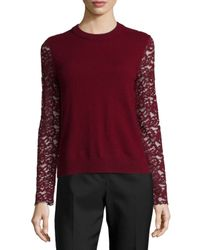 Tory Burch | Red Crochet Lace Peplum Sweater | Lyst